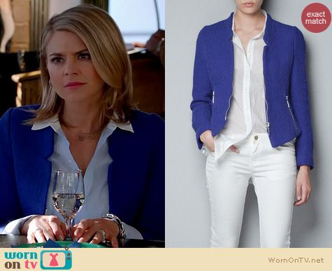 Happy Endings Fashion: Zara Blazer with zips in electric blue worn by Eliza Coupe