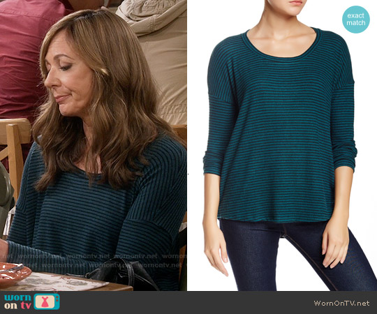 Harlowe & Graham Long Sleeve Stripe Soft Pullover in Teal worn by Allison Janney on Mom
