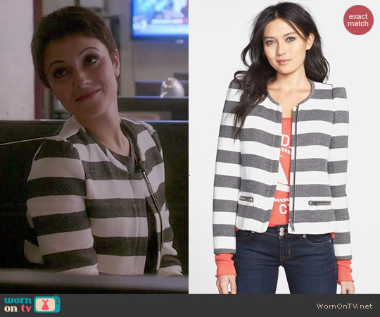 Harlowe & Graham Striped Collarless Jacket worn by Italia Ricci on Chasing Life
