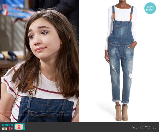 Hart Denim 'Daryl' Distressed Denim Overalls worn by Riley Matthews on Girl Meets World