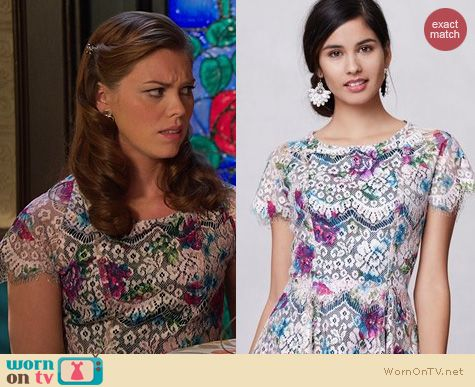 Hart of Dixie Fashion: Anthropologie Lacepaint Flared Dress worn by Kaitlyn Black