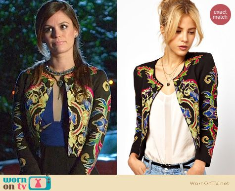 Hart of Dixie Fashion: ASOS jacket with floral embroidery worn by Rachel Bilson