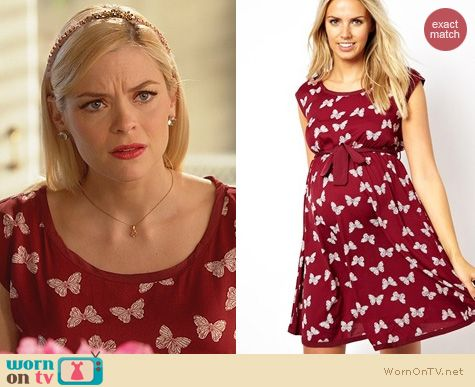 Hart of Dixie Fashion: Maternity Butterfly Print Waisted Dress from ASOS  worn by Jaime King