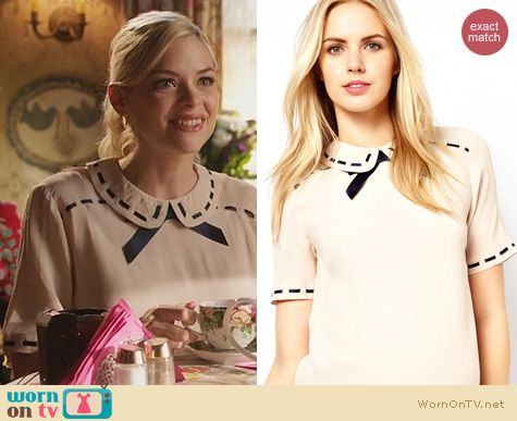 Hart of Dixie Fashion: ASOS Maternity Blouse with Ribbon Detail and Contrast Bow worn by Jaime King