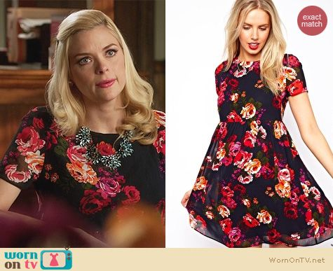 Hart of Dixie Fashion: ASOS Maternity Smock Dress in floral with back detail worn by Jaime King