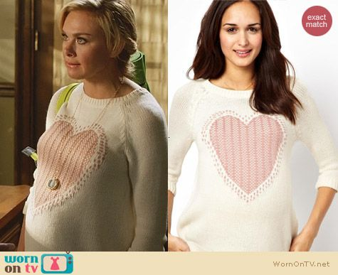 Hart of Dixie Fashion: ASOS New Look Love Heart Maternity Sweater worn by Laura Bell Bundy