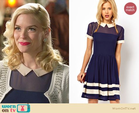 Hart of Dixie Fashion: ASOS Skater Dress with contrast collar worn by Jaime King