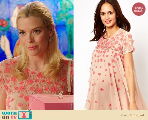 Hart of Dixie Fashion: Maternity Swing Dress with floral applique worn by Jaime King