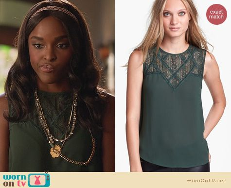 Hart of Dixie Fashion: ASTR Green Lace Yoke Top worn by Antoinette Robertson