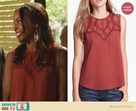 Hart of Dixie Fashion: ASTR Lace Yoke Top in Orange worn by Antoinette Robertson