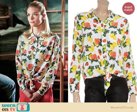 Hart of Dixie Fashion: Equipment Daddy fruit and rose print tie front silk shirt worn by Jaime King