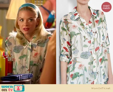 Hart of Dixie Fashion: Equipment daddy shirt in bird multi print worn by Jaime King