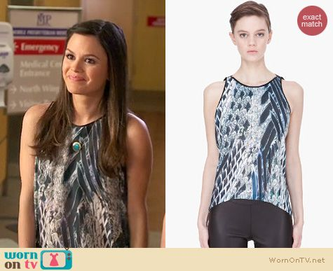 Hart of Dixie Style: Helmut Lang blue floating pheasant print top worn by Rachel Bilson