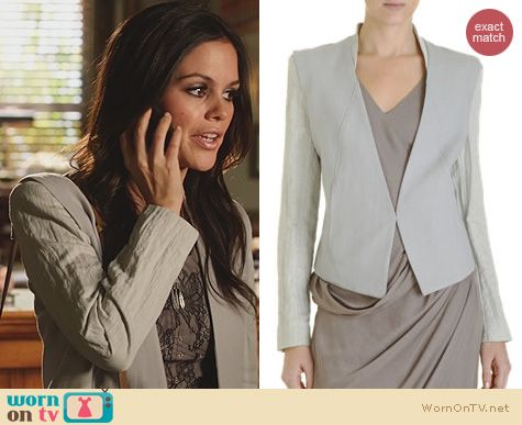 Hart of Dixie Fashion: Helmut Lang Contrast Sleeve Tuxedo Jacket worn by Rachel Bilson