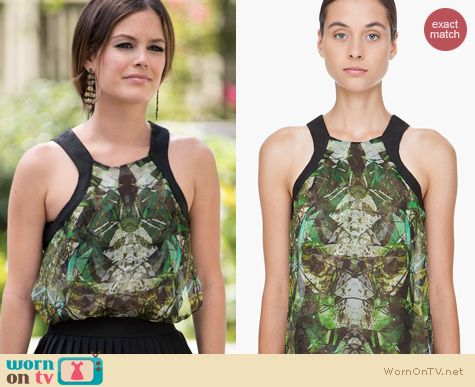 Hart of Dixie Fashion: Helmut Lang Leather Trim Cicada Tank worn by Rachel Bilson