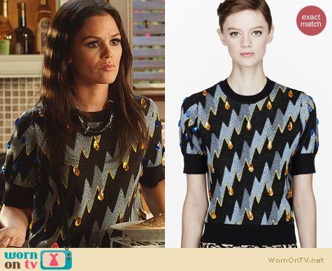 Hart of Dixie Fashion: Kenzo Lightning Bolt Gemmed Shirt worn by Rachel Bilson