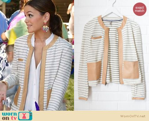 Hart of Dixie Fashion: Love, Zooey Leather Trim Striped Jacket worn by Rachel Bilson