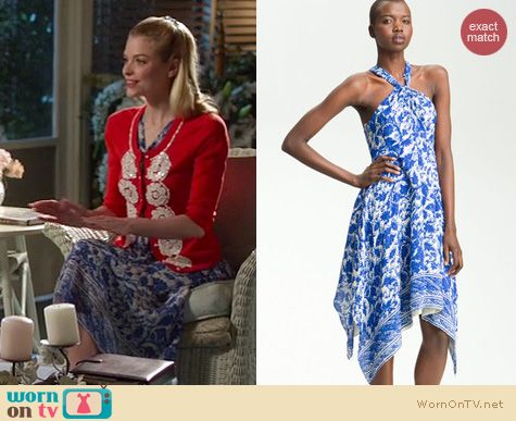 Hart of Dixie Fashion: McGinn twist neck silk printed dress worn by Jaime King