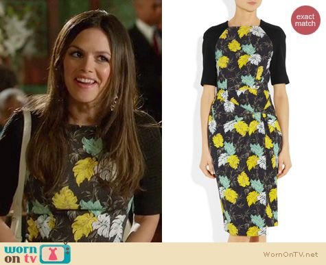 Hart of Dixie Fashion: Proenza Schouler Floral-print neoprene and shirred-jersey dress worn by Rachel Bilson