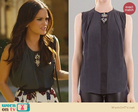 Hart of Dixie Fashion: Sandro Gemstone Brooch Top worn by Rachel Bilson