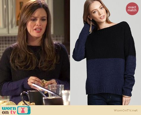 Hart of Dixie Fashion: Vince Color Block boat neck sweater worn by Rachel Bilson