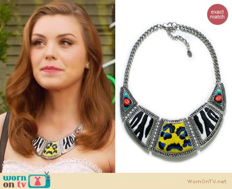 Hart of Dixie Jewelry: Zara embroidered fabric and metal necklace worn by Kaitlyn Black