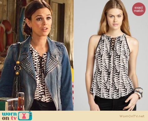Hart of Dixie Outfits: Greylin Black & White Batik Print Top worn by Rachel Bilson
