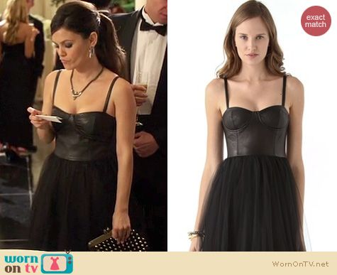Hart of Dixie Style: Alice + Olivia 'Ona' leather bustier gown worn by Rachel Bilson