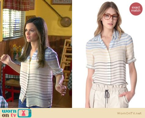 Hart of Dixie Style: L'Agence striped short sleeve blouse worn by Rachel Bilson