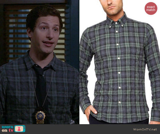 Hartford Faded Blackwatch Plaid Shirt worn by Andry Samberg on Brooklyn 99
