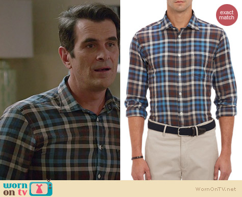 Hartford Plaid Herringbone Shirt worn by Ty Burrell on Modern Family