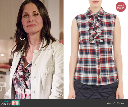 Harvey Faircloth Ruffled Plaid Flannel Sleeveless Shirt worn by Courtney Cox on Cougar Town