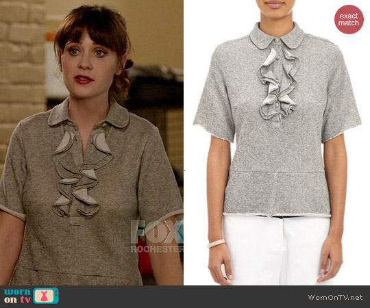 Harvey Faircloth Ruffle Front Sweatshirt Top worn by Zooey Deschanel on New Girl