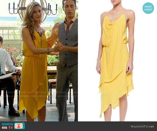 Haute Hippie Cowl-Neck Asymmetric Short Dress worn by Brooke D'Orsay on Royal Pains
