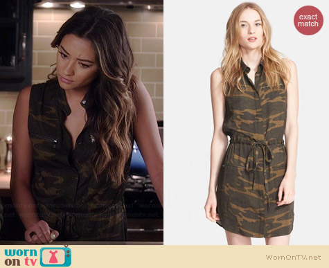 Haute Hippie Camo Shirtdress worn by Shay Mitchell on PLL