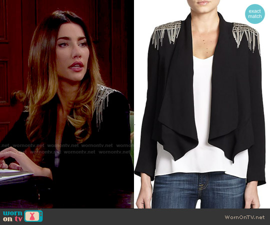 Haute Hippie Chain Fringe Trim Silk Blazer worn by Jacqueline MacInnes Wood on The Bold & the Beautiful
