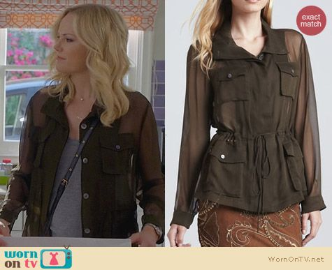 Haute Hippie Chiffon Anorak Blouse worn by Malin Akerman on Trophy Wife