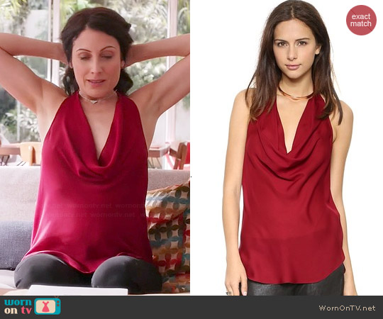 Haute Hippie Cowl Halter Tank worn by Lisa Edelstein on GG2D