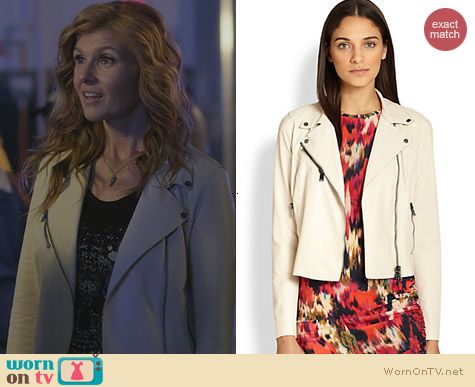 Haute Hippie Cropped Leather Moto Jacket in Ivory worn by Connie Britton on Nashvilee