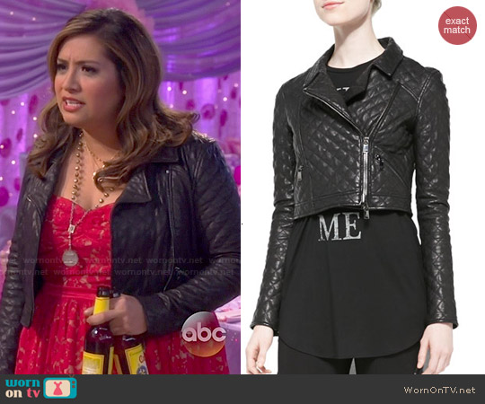 Haute Hippie Cropped Quilted Leather Moto Jacket worn by Cristela on Cristela
