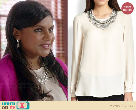 Haute Hippie Detachable Embellished Collar blouse worn by Mindy Kaling on The Mindy Project