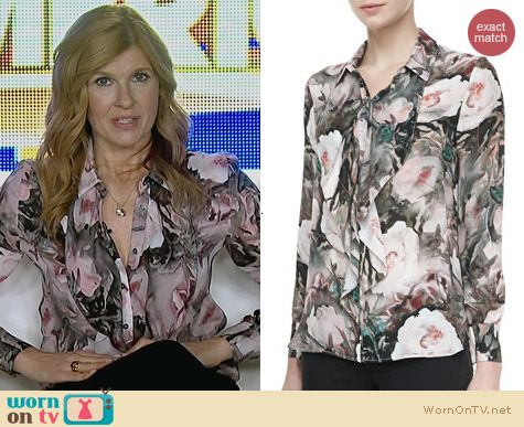 Haute Hippie Ruffle Front Silk Blouse worn by Connie Britton on Nashville