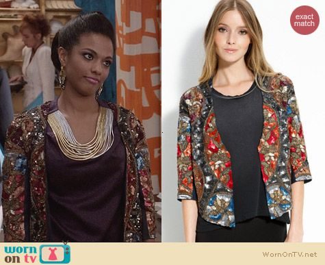 Haute Hippie Embellished Jacket worn by Freema Agyeman on The Carrie Diaries