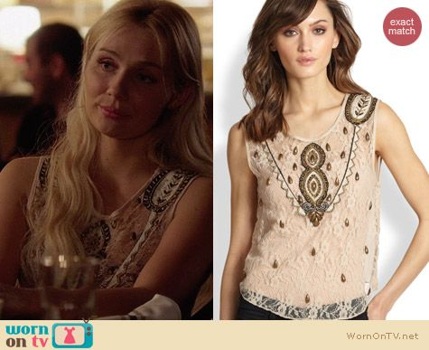Haute Hippie Embellished Silk Lace Top worn by Clare Bowen on Nashville