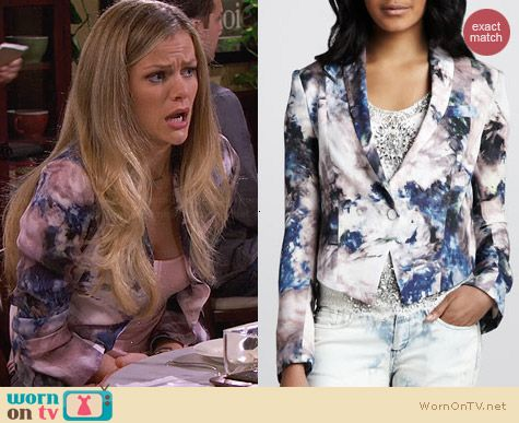 Haute Hippie Floral Print Cropped Blazer worn by Brooklyn Decker on FWBL
