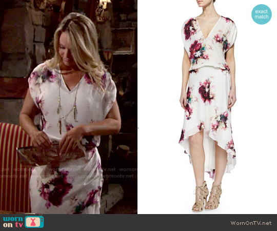 Haute Hippie Floral Print Silk Drawstring Dress worn by Sharon Case on The Young & the Restless