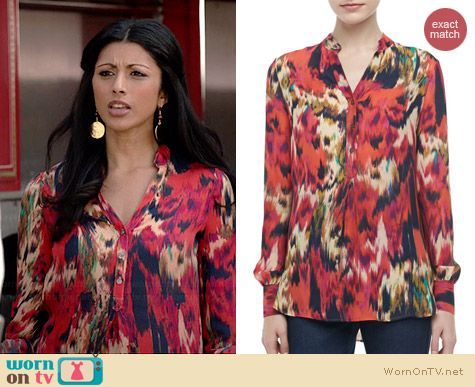 Haute Hippie Ikat Printed Henley Blouse worn by Reshma Shetty on Royal Pains