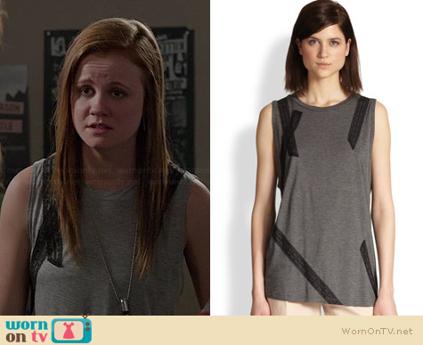 Haute Hippie Lace Applique Muscle Tank worn by Mackenzie Lintz on Under the Dome