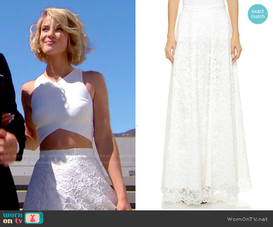 Haute Hippie Lace Maxi Skirt worn by Linsey Godfrey on The Bold & the Beautiful