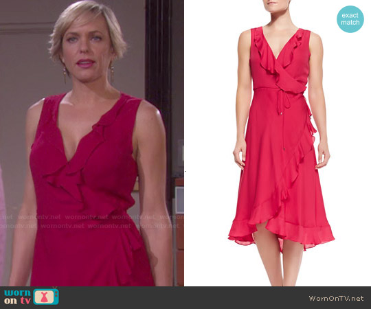 Haute Hippie Lay Me Down Ruffled Halter Long Wrap Dress worn by Arianne Zucker on Days of our Lives
